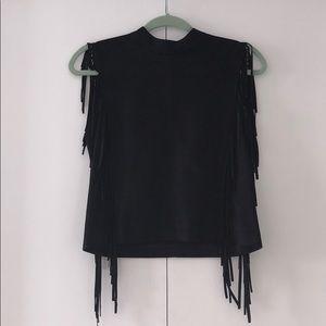 Zara Black Faux Suede Fringe High Neck Top